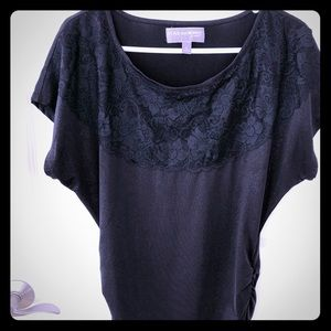 Lace and sparkle black shirt by Vanity size L